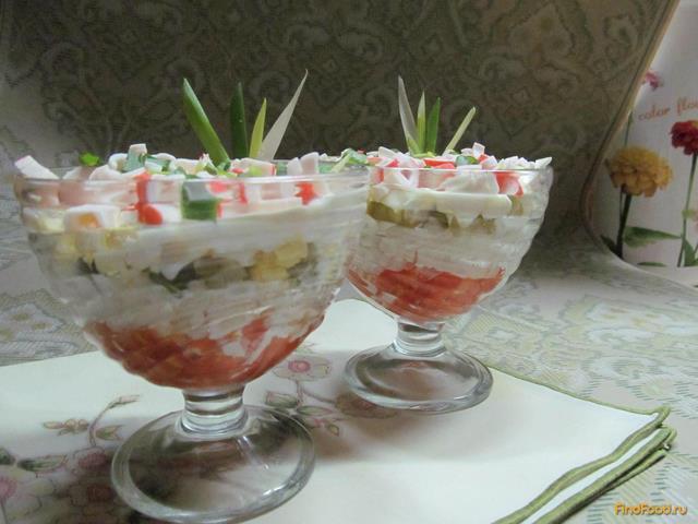 Рецепт Салат из крабовых палочек с помидором и рисом рецепт с фото