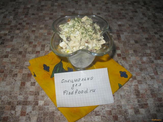Рецепт Салат из курицы с грецкими орехами и шампиньонами рецепт с фото