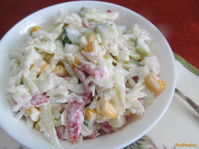 Рецепт Салат из салями капусты и кукурузы рецепт с фото