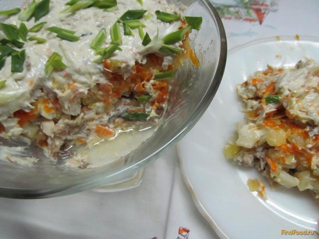 Рецепт Салат с скумбрией отварной рецепт с фото