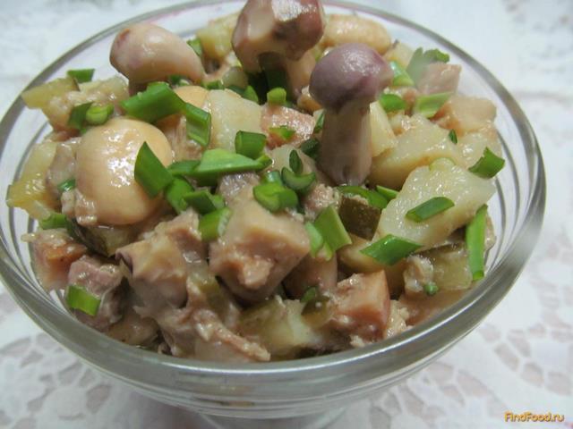 Салат с маринованными шампиньонами и фасолью рецепт