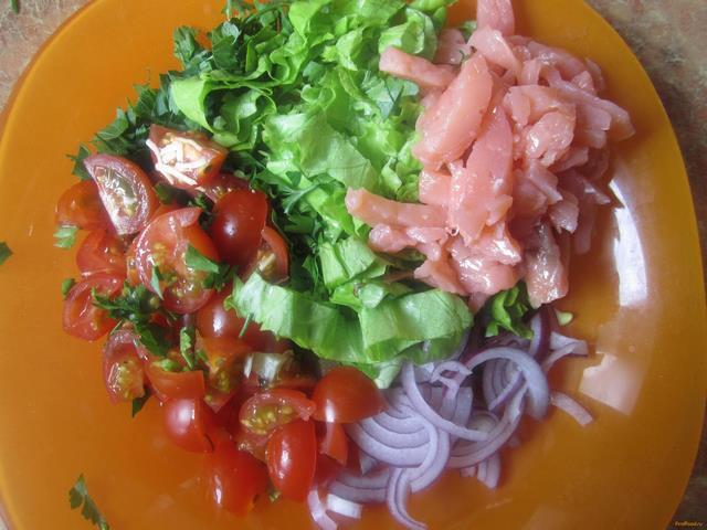 семга с листьями салата рецепт с фото