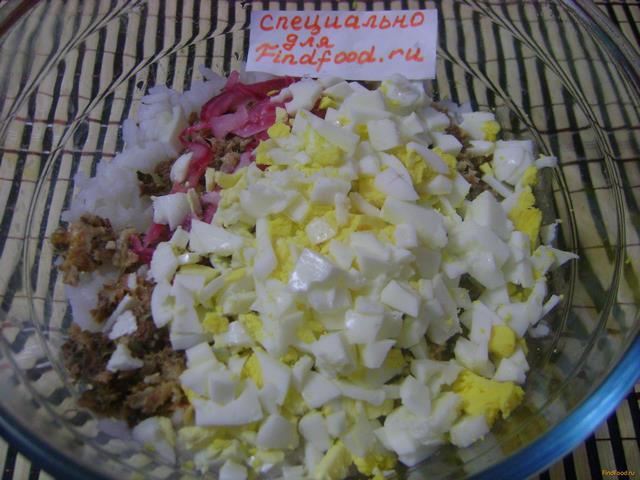 салат с рыбными консервами мимоза с рисом рецепт