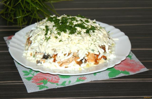 Салат из сыра, грибов и курицы