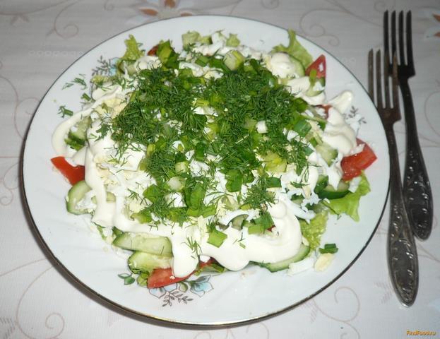 Рецепт Салат из свежих овощей с яйцами рецепт с фото