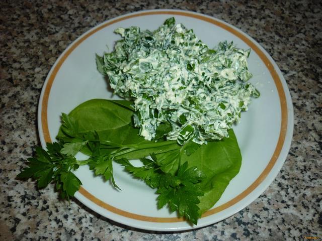 Рецепт Салат с зеленью и творогом рецепт с фото