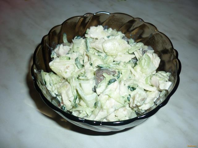 Рецепт Салат из куриной грудки с огурцом и маслятами рецепт с фото