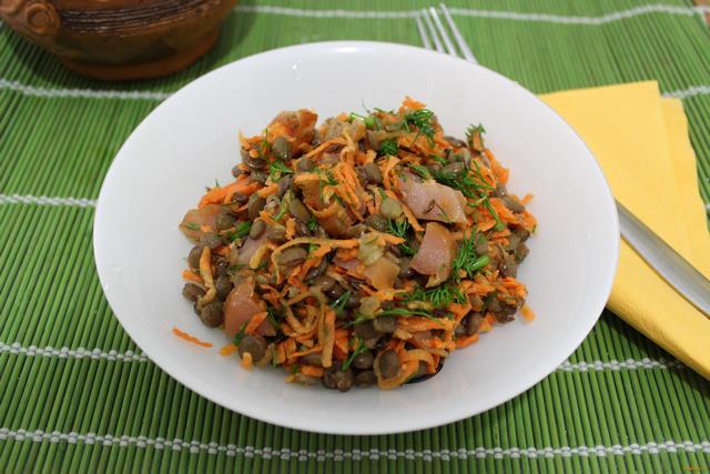 Рецепт Чечевичный салат с копченой курицей рецепт с фото
