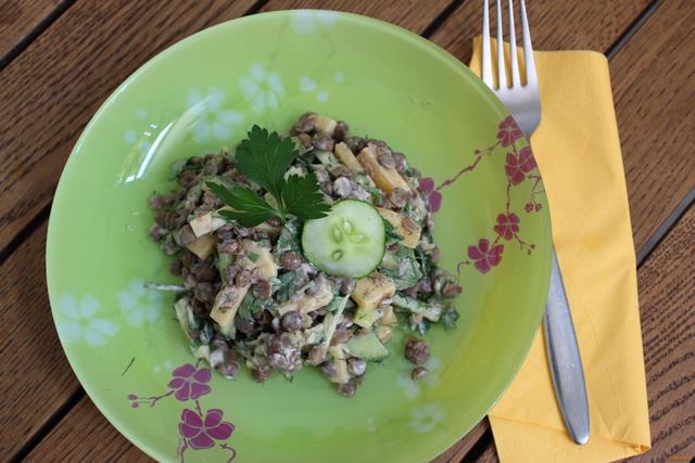 Рецепт Чечевичный салат с огурцом рецепт с фото