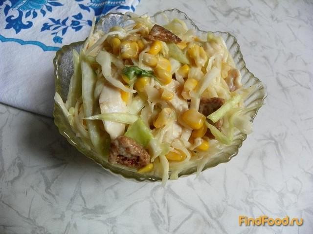 Рецепт Капустный салат с курицей и сухариками рецепт с фото