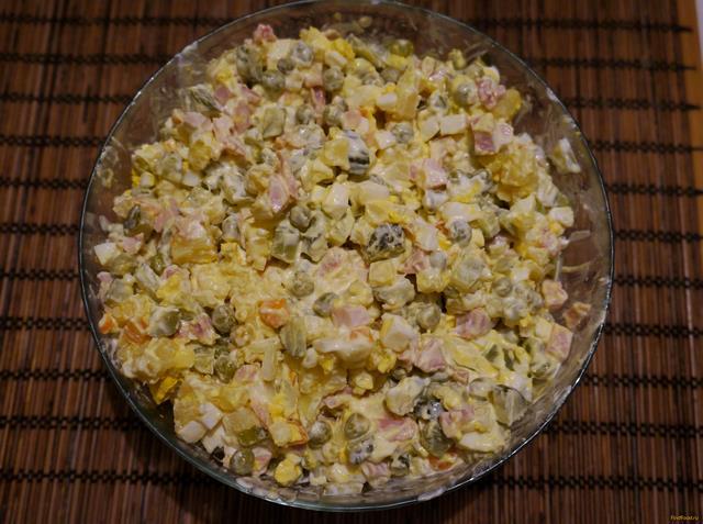 Рецепт Оливье с копченой курицей рецепт с фото