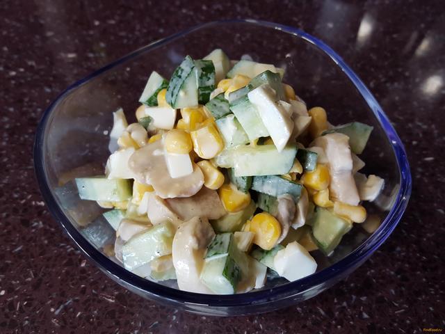 Рецепт Салат с шампиньонами и кукурузой рецепт с фото