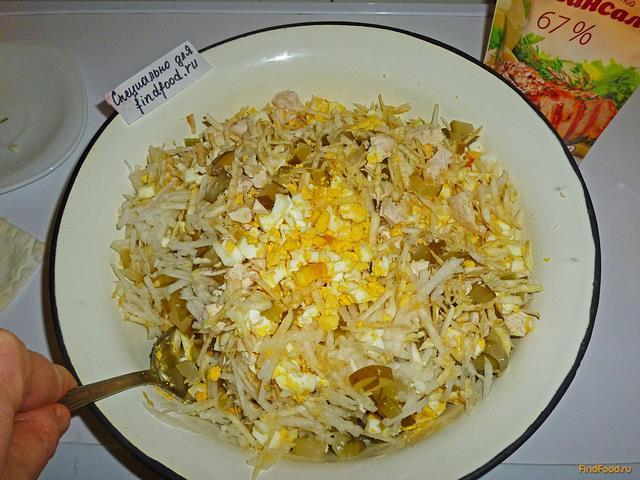 рецепт салата филе и огурцы соленые