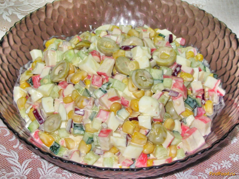 Салат крабовое мясо кукуруза яйцо огурец