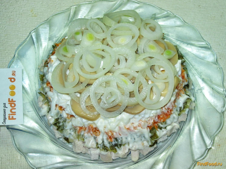 Салат подарок с курицей и грибами фото рецепт