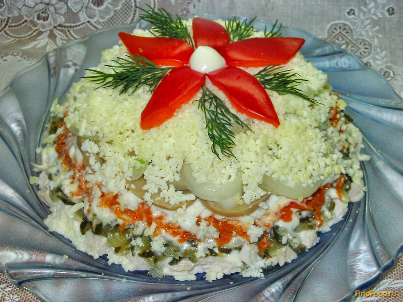 Салат слоями из шампиньонов и куриной грудки рецепт пошагово