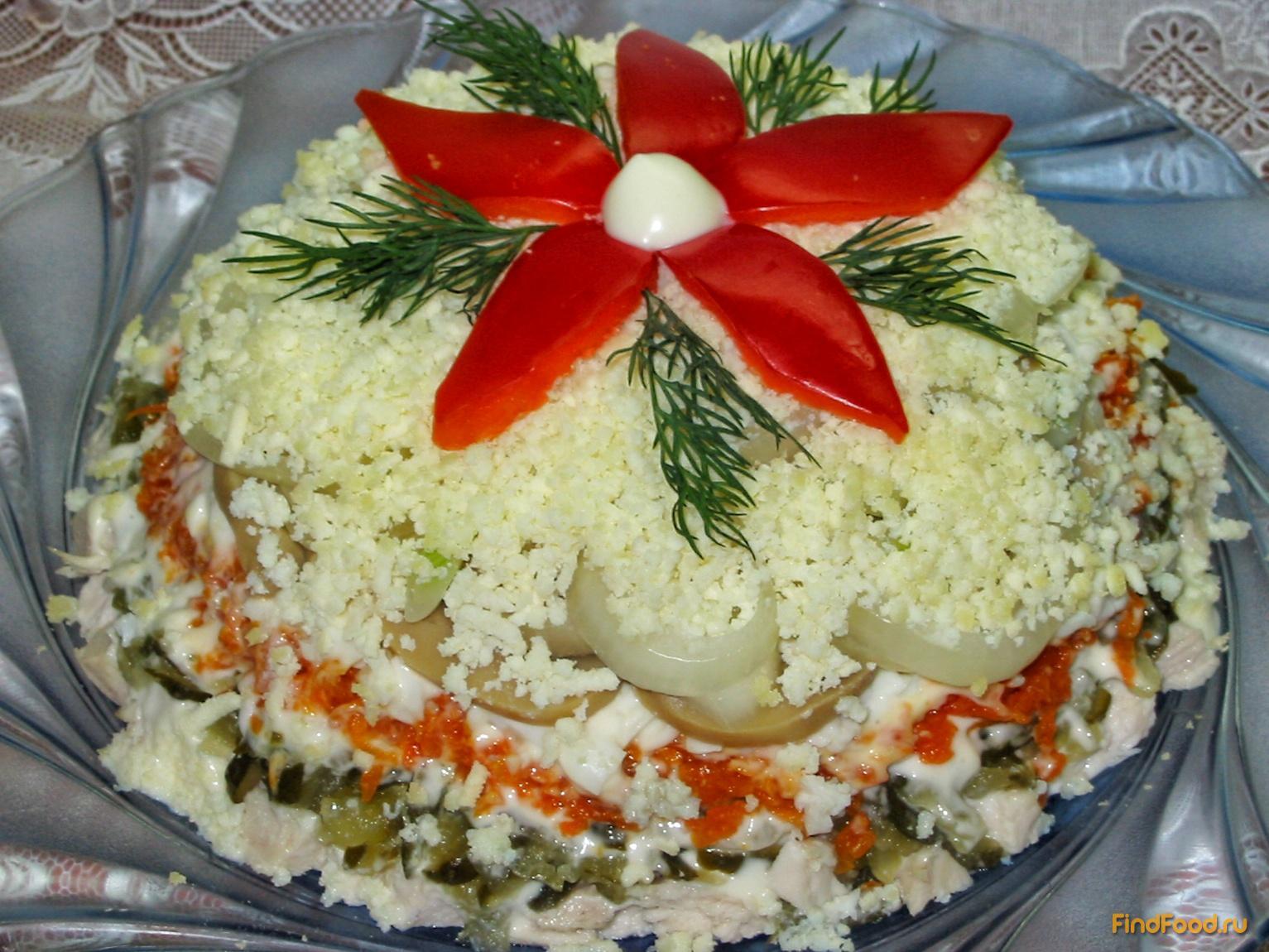 Салат слоеный из курицы простые и вкусные пошаговые