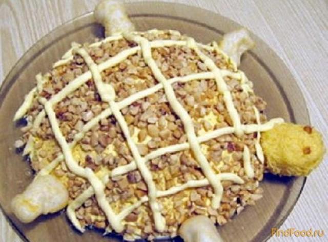 Салат черепаха с рыбными консервами пошаговый рецепт 132