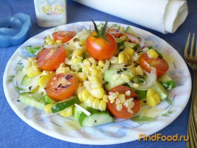 Рецепт Салат с кукурузой и помидорами Черри рецепт с фото