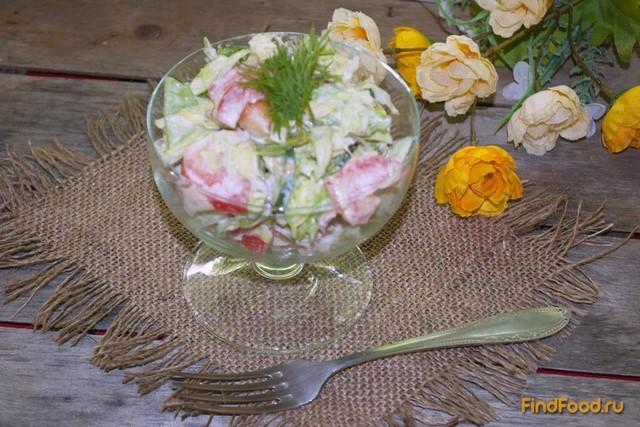 Рецепт Капустный салат с огурцом и курицей рецепт с фото