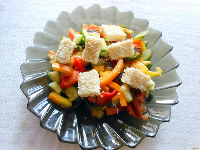 Рецепт Овощной салат с кунжутом рецепт с фото