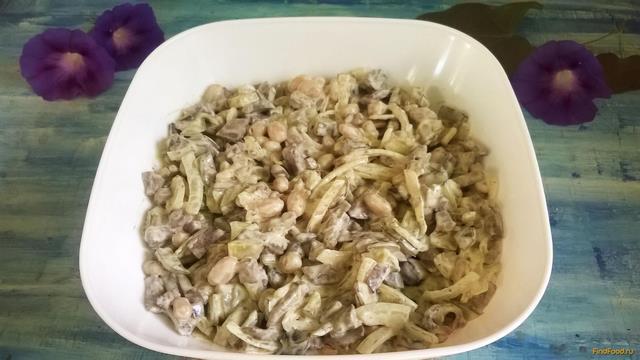 Рецепт Салат из печени с фасолью рецепт с фото