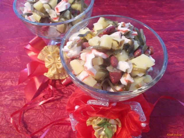 Рецепт Салат с консервированной красной фасолью и морской капустой рецепт с фото