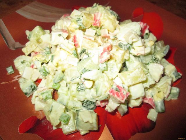 Рецепт Салат с картофелем огурцом и крабовыми палочками рецепт с фото