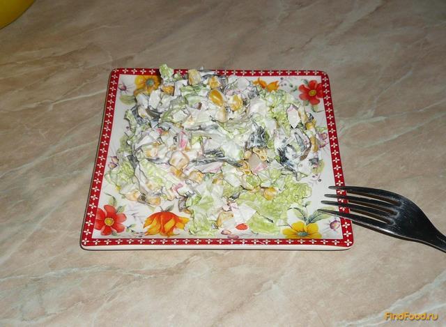 Рецепт Салат с морской капустой и крабовым мясом рецепт с фото