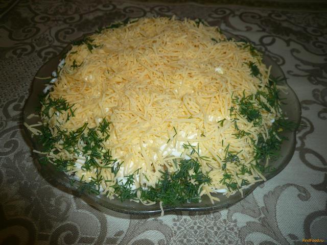Рецепт Слоеный салат с печенью трески рецепт с фото