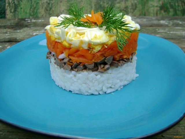 Рецепт Слоеный салат с куриными сердечками рецепт с фото