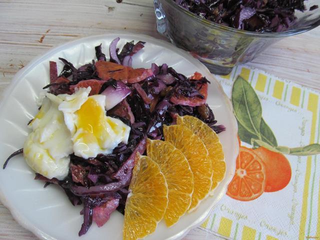 Рецепт Салат из красной капусты апельсином и изюмом рецепт с фото