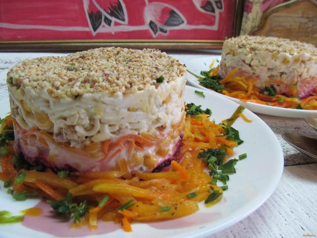 Рецепт Салат с курицей и маринованной тыквой рецепт с фото