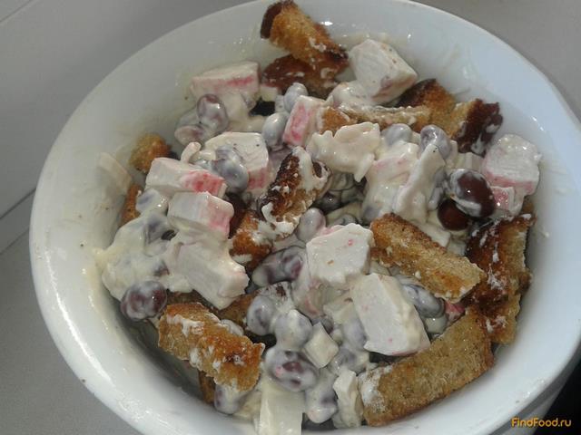 Рецепт Салат с фасолью и крабовыми палочками рецепт с фото