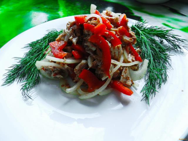 Рецепт Острый салат с курицей и болгарским перцем рецепт с фото