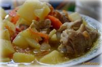 Рецепт Картофель тушеный с домашней курицей рецепт с фото