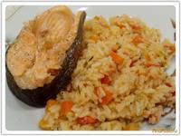 Рецепт Рис и рыба на пару на ужин рецепт с фото