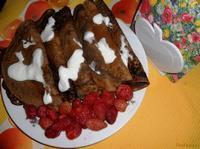 Рецепт Шоколадные блинчики с ягодами рецепт с фото