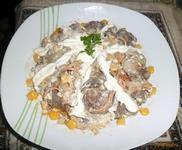 Рецепт Салат с куриной печенью и кукурузой рецепт с фото