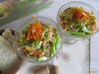 Рецепт Теплый салат с курицей и рисом рецепт с фото