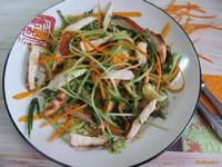 Рецепт Теплый салат с вермишелью и курицей рецепт с фото