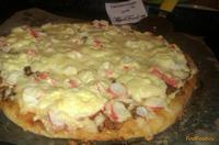Рецепт Пицца с крабовыми палочками и яйцом рецепт с фото