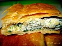 Рецепт Слоёный пирог с творогом и шпинатом рецепт с фото