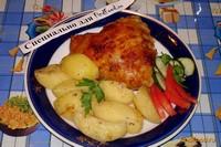 Рецепт Картофель с курицей в абрикосовой карамели рецепт с фото