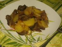 Рецепт Жареный картофель с баклажаном и луком рецепт с фото