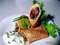 Рецепт Блины с грибами и капустой рецепт с фото