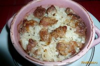 Рецепт Рисовая каша с мясом в горшочке рецепт с фото