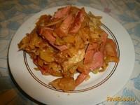 Рецепт Капуста тушеная с колбасой рецепт с фото
