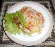 Рецепт Рис с овощами и рыбой рецепт с фото