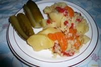 Рецепт Картофель с рисом тушеный рецепт с фото
